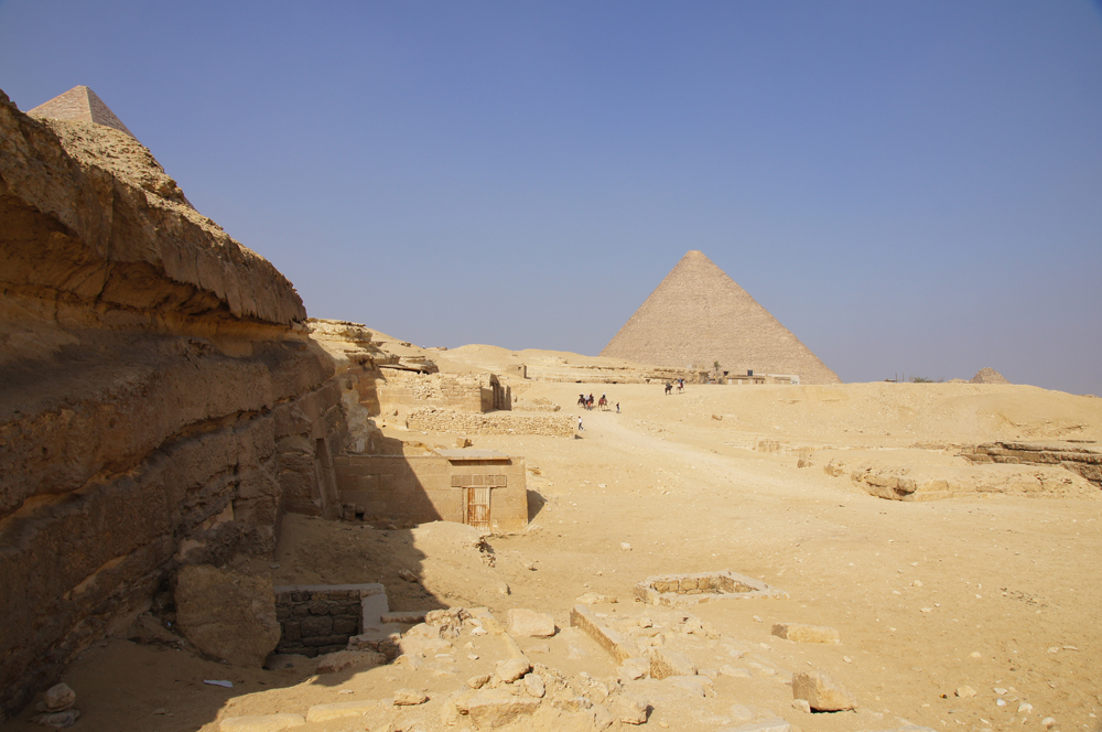 Central Field (Hassan): Site: Giza; View: G 8064, G 8070, G 8066, G 8080, Khufu Pyramid